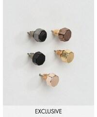DesignB London - Lot de 5 boucles d'oreilles octogonales - Multi