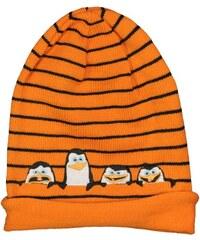 E plus M Chlapecká čepice Tučňáci z Madagaskaru - oranžová