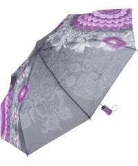Šedý deštník s fialovými vzory Desigual Bollywood