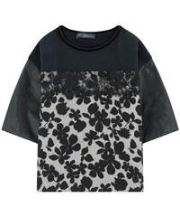 Miss Blumarine Blumen-T-Shirt mit Ąrmeln aus Lederimitat