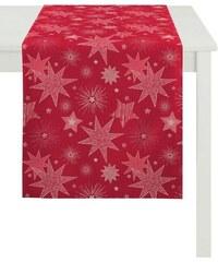 APELT Tischwäsche 5201 CHRISTMAS ELEGANCE rot Mitteldecke 93x93 cm,Tischband 24x175 cm,Tischdecke 150x250 cm,Tischläufer 48x140 cm