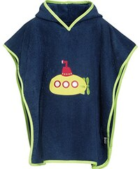 Playshoes Jungen Bademantel Frottee-Poncho, Badeponcho U-Boot mit Kapuze