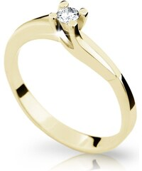 Danfil Zlatý prsten DF 1854 ze žlutého zlata, s briliantem