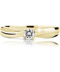 Danfil Zlatý zásnubní prsten DF 1906, žluté zlato, s briliantem