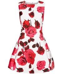 New Look AX Paris – Ausgestelltes cremefarbenes Kleid mit Blumenmuster