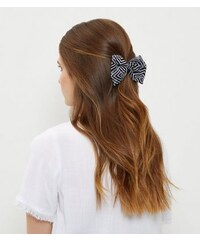 New Look Schwarze Haarspange mit Schleife und geometrischem Streifenmuster