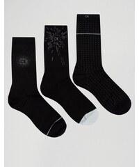 Calvin Klein - Lot de 3 paires de chaussettes festives en coffret-cadeau - Noir