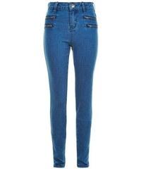 New Look Teenager – Blaue Skinny Jeans mit Reißverschluss vorne