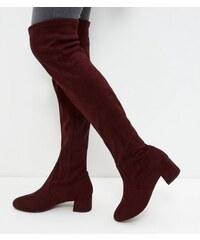 New Look Rote Wildlederimitat-Overknee-Stiefel mit Blockabsatz, weite Passform