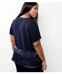 New Look Curves – Marineblaues T-Shirt mit Kontrasttasche