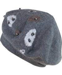 Art of Polo Pletený šedý baret s aplikací