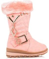 CZASNABUTY Módní růžové kozačky s kožíškem