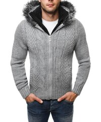 Stylový šedý svetr na zimu 4804