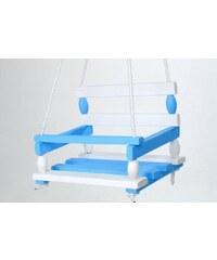 Teddies Houpačka dřevo bílo modrá 38 x 30 cm