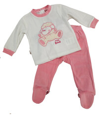 Carodel Dívčí spací komplet s ovečkou - bílo-růžový