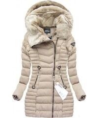 SPEED.A Prošívaná bunda s kapucí béžová(W820)