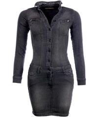 Kaporal Tunique Femme - Robe en jeans Hetty noire manches longues hiver 2017