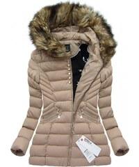 SPEED.A Zimní prošívaná bunda s kapucí béžová (W808)