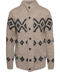 Béžový vzorovaný svetr s vysokým límcem a knoflíky Blend