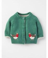 Weihnachtlicher Cardigan mit Rotkehlchenmotiv Gr�n Baby Boden