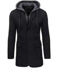 Pánský grafitový jednořadý kabát s odepínací kapucí