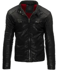 Černá kožená bunda s patentky u krku