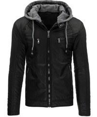 Černá kožená bunda s odepínací šedou kapucí