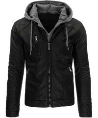 Zateplená bunda z černé EKO kůže s odepínací kapucí