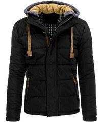Perfektní prošívaná bunda s kapucí s ovčím kožíškem černá
