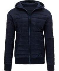 Tmavě modrá fešácká prošívaná bunda s mikinovou kapucí
