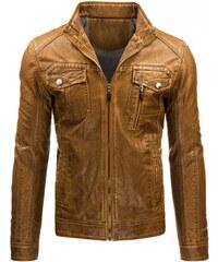 Stylová bunda z hnědé EKO kůže pro chlapy