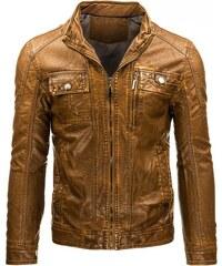 Pánská kožená bunda na zip hnědá