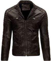 Tmavě hnědá kožená bunda pro tvrďáky