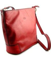 Kožená taška přes rameno Katana - červená 9809b4e9696