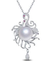 Eppi Perlový zlatý náhrdelník s diamanty a rubíny Manisha