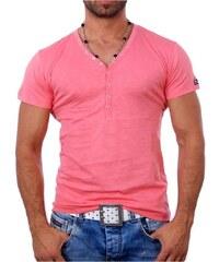 Young And Rich T-shirt T shirt blanc col v T shirt YR1444 rose