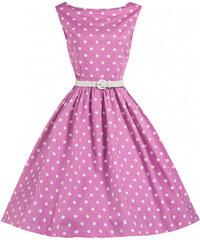 Lindy bop retro dámské šaty Sandy růžové s puntíky