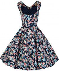 Lindy Bop retro šaty Ophelia námořnicky modré s květy