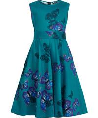 Retro šaty Lady V London mini Butterfly Hepburn tyrkysové