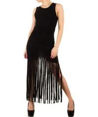 Pouzdrové šaty s třásněmi černé