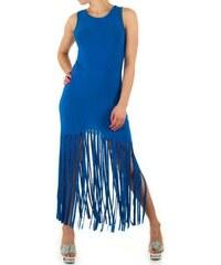 Pouzdrové šaty s třásněmi modré
