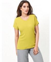 SAMOON Damen Samoon T-Shirt Kurzarm Rundhals Shirt mit Blusen-Front gelb 42,44,46,48,50,52,54