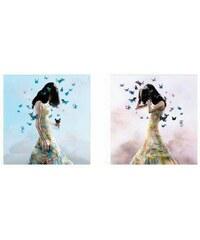 PREMIUM PICTURE Deco-Panel Schmetterlingsfrau 2x 30/30 cm bunt