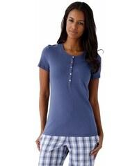 Basic T-Shirt mit Rundhalsausschnitt und Knopfleiste Schiesser blau 34,36,38,40,42,44,46,48
