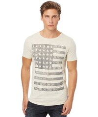 T-Shirt washed crewneck with print TOM TAILOR DENIM natur L,M,S,XL,XXL