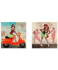 Deco-Panel Girlie mit Roller/Girlie 2x 30/30 cm PREMIUM PICTURE bunt