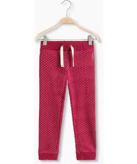 Esprit Bavlněné teplákové kalhoty s puntíky