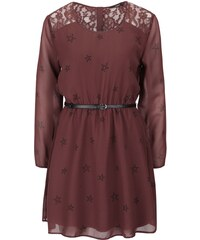 Vínovo-hnědé šaty s páskem a dlouhými rukávy ONLY Stella