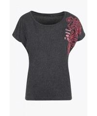 SAM 73 Dámské melírované tričko s ornamentem WT 607 gray - šedá