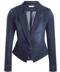 Veste blazer en jean Bleu Coton - Femme Taille 1 - Cache Cache